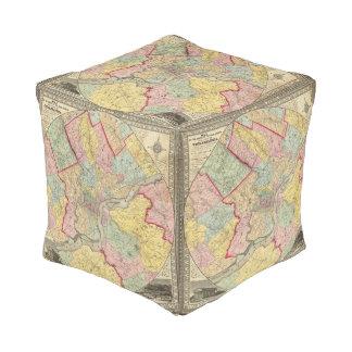 Map Around The City Of Philadelphia Cube Pouf