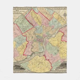 Map Around The City Of Philadelphia Fleece Blanket
