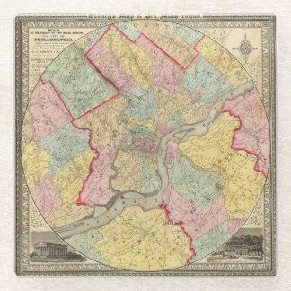 Map Around The City Of Philadelphia Glass Coaster
