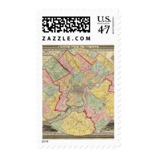 Map Around The City Of Philadelphia Postage