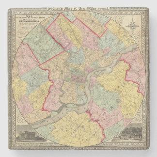 Map Around The City Of Philadelphia Stone Coaster