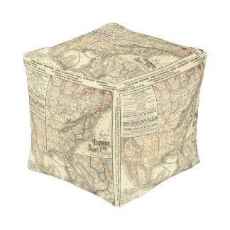 Map Atlantic Coast Line Cube Pouf