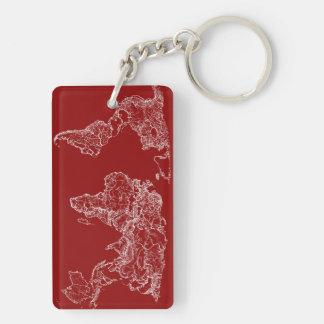 Map atlas in bright scarlett keychain