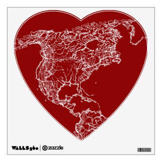 Map atlas in bright scarlett wall decal