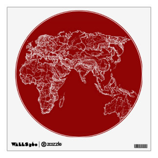 Map atlas in bright scarlett wall decals