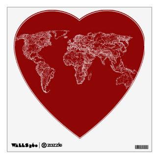 Map atlas in bright scarlett room decals