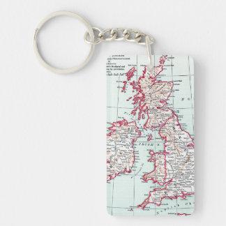 MAP: BRITISH ISLES, c1890 Keychain