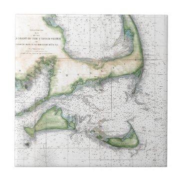 Map Cape Cod, Nantucket, Martha's Vineyard Ceramic Tile