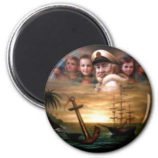 Map captain and five children of the American way 2 Inch Round Magnet