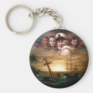 Map captain and five children of the American way Basic Round Button Keychain