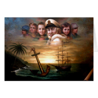 Map captain and five children of the American way Card