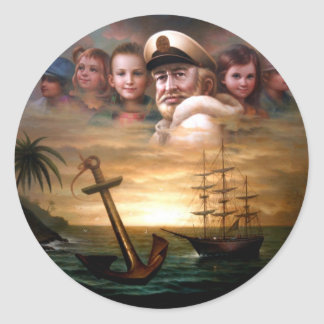 Map captain and five children of the American way Classic Round Sticker