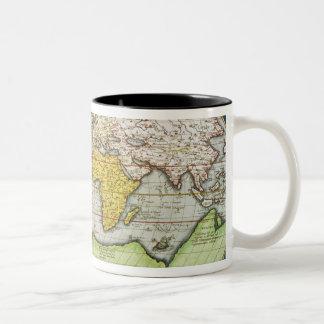 Map charting Sir Francis Drake's Two-Tone Coffee Mug