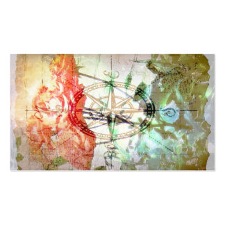 Map, Compass, Roses Business Card