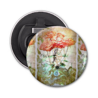 Map, Compass, Roses Button Bottle Opener