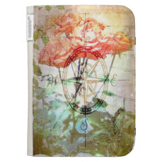 Map, Compass, Roses Cases For Kindle