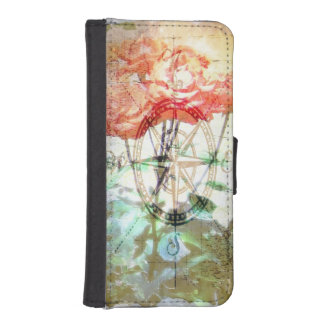 Map, Compass, Roses iPhone 5 Wallet Cases