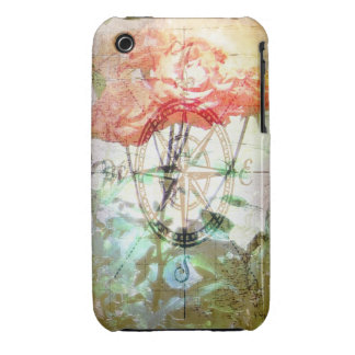 Map, Compass, Roses iPhone Case-Mate Barely There iPhone 3 Cover