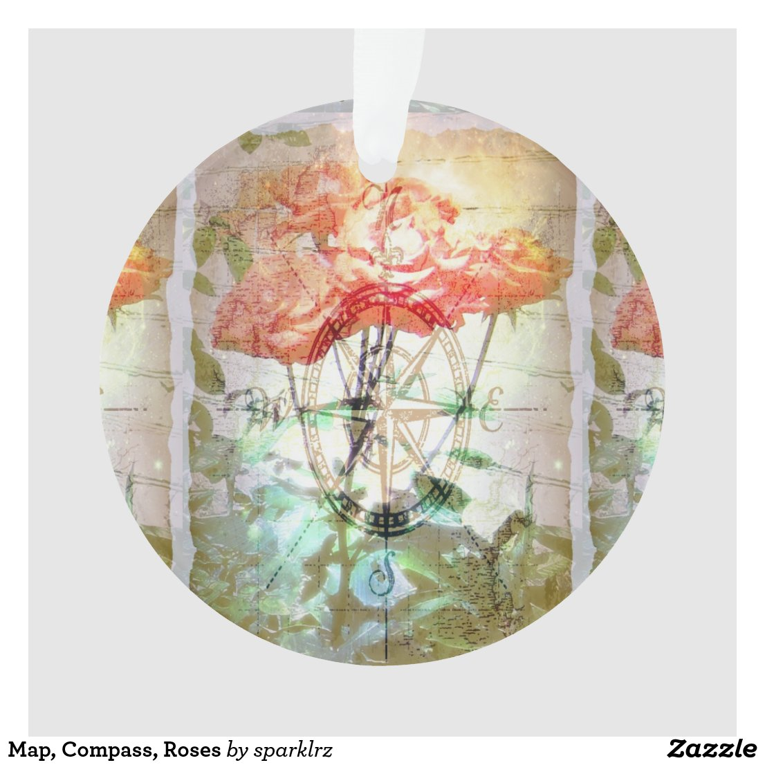 Map, Compass, Roses Ornament