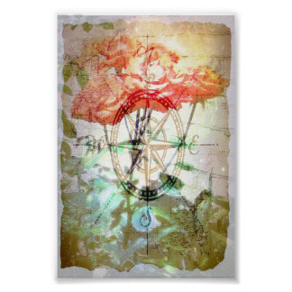 Map, Compass, Roses Poster
