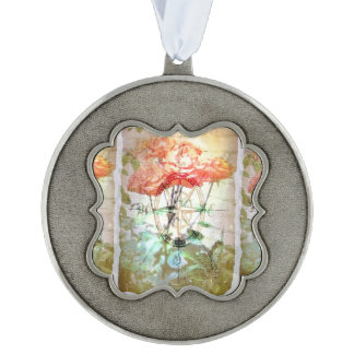 Map, Compass, Roses Scalloped Pewter Ornament