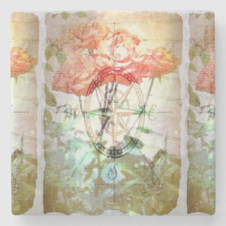 Map, Compass, Roses Stone Coaster