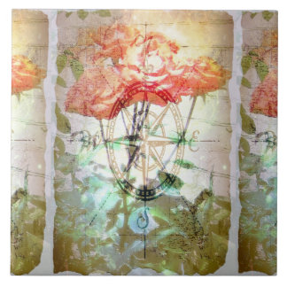 Map, Compass, Roses Tile