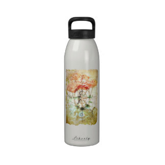Map, Compass, Roses Water Bottle