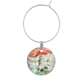 Map, Compass, Roses Wine Glass Charms