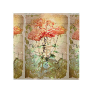 Map, Compass, Roses Wood Prints