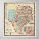 Map de De Cordova de Tejas Póster