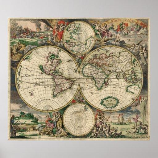 Map del mundo, 1689 de Gerard Van Schagen Poster