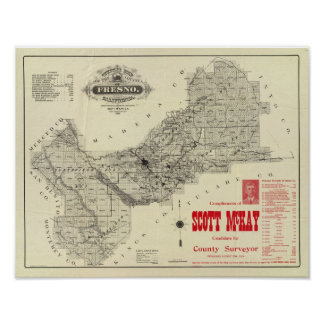 Map Fresno County, California Poster