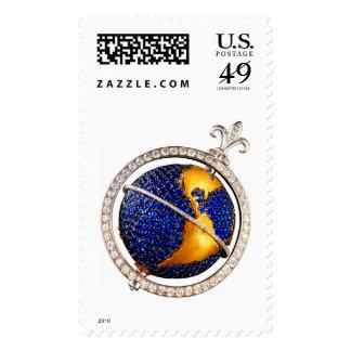Map Globe Earth Diamonds Vintage Costume Jewelry Postage