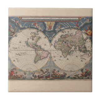 Map Globe Travel Art Vintage Antique Ceramic Tile