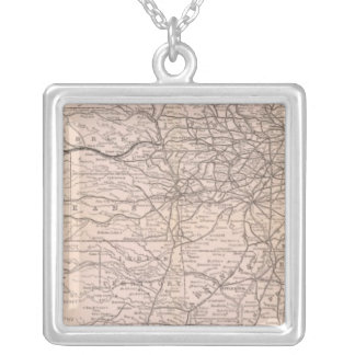 Map Great Western Railway of Canada Square Pendant Necklace