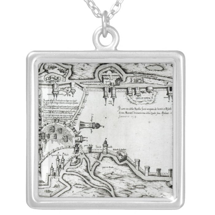 Map illustrating La Rochelle occupied Silver Plated Necklace