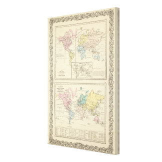 Map in color of The World Canvas Prints