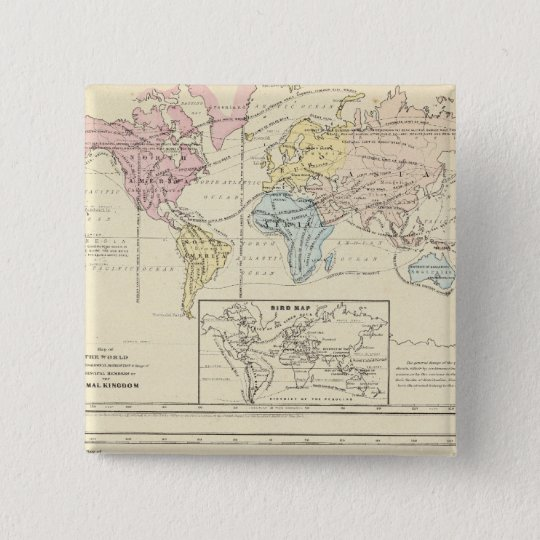 Map in color of The World Pinback Button