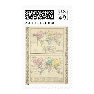 Map in color of The World Postage Stamp