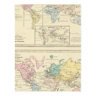 Map in color of The World Post Card