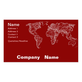 Map in red business card template