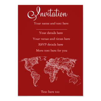 "Map in red 5"" x 7"" invitation card"