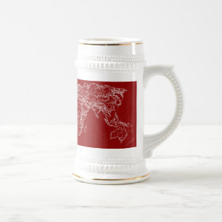 Map in red coffee mugs