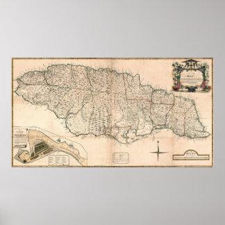 MAP: JAMAICA, 1755 2 POSTER