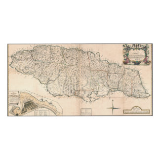 MAP: JAMAICA, 1755 2 WOOD WALL ART