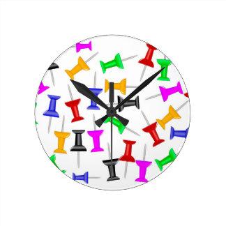 Map Knob Pins Round Clock