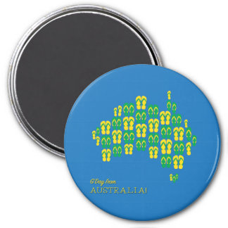 Map made of Aussie thongs 3 Inch Round Magnet