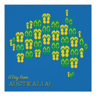 Map made of Aussie thongs Poster