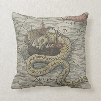 Map Monster/Sea Serpent Throw Pillow